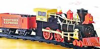 Boys Train Set Lights Sounds Gold Red Western Express 22pc New