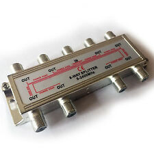 8 Way/Port Aerial F Connector Splitter-Signal Coaxial Distribution-DC Power Pass