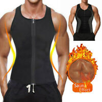 Men's Sweat Vest Body Shaper Zipper Slimming Sauna Tank Neoprene Top Chaleco US