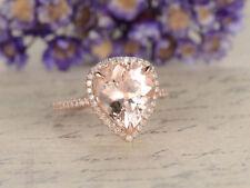 1.45Ct Pear Brilliant Cut Morganite Halo Engagement Ring In 14K Rose Gold Finish