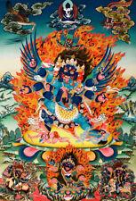 50 Inch Luxury Buddhist Thangka Painting Protector Deity Vajrakilaya Wood Scroll