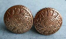 Pair of Antique Victorian Eastlake Solid Brass / Bronze Doorknobs