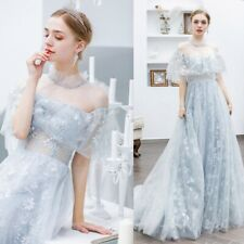 Lady V neck Sleeveless Bridesmaid Evening Floral Pary bride Lace Prom Gown dress