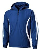 MENS 1/4 ZIP, LINED ANORAK PULLOVER WINDBREAKER, HOOD, BREATHABLE, POCKET XS-6XL