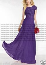 Hot Long/Lace Cap Sleeve Evening Formal Party Ball Gowns Prom Bridesmaid Dresses