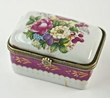 Caja con tapa, de pastillas, Porcelana, Decoración Floral, hebilla metal D6)