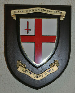 City of London & NE Sector Army Cadet Force mess wall plaque crest shield ACF