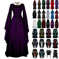 Lady Retro Renaissance Gothic Dress Costume Medieval Victorian Hooded Cape Gown