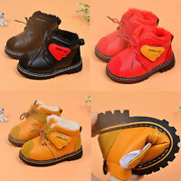 Kids Newborn Baby Girl Boys Winter Fur Snow Boots Warm Shoes Leather Sneakers UK