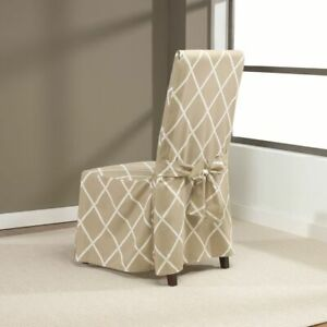 Sure Fit Lattice Dining Room Chair Slipcover with Ties TAN NEW