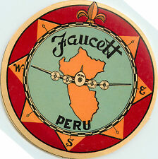 FAUCETT AIRLINES ~PERU~ Historic and Scarce Luggage Label, 1931