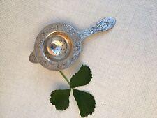 Antique Vintage Ornate Silver Plated Tea Strainer Engraved