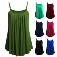 Womens Strap Tank Tops Loose Tunic Flowy Causal Vest Blouse Camisole Plus Size