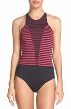 Nike  Laser High Neck Tank Swimsuit Sport Fuchsia Pink One Piece Sz L NWT