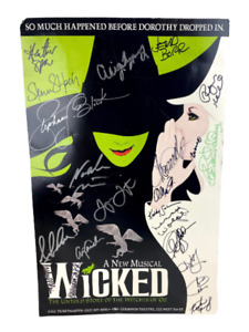 Wicked Musical Cast Members Signed Poster Gershwin Theatre 14 x 22