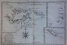 Falkland Islands / Islas Malvinas. MAPA ORIGINAL DE R. BONNE, 1785