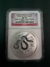 2013 Australia Snake 1 oz 999 Silver coin NGC MS 70 - 1 of 1st 1000 Struck