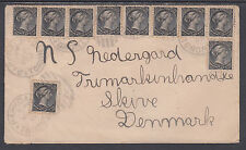 Canada Sc 34 strips & singles on 1897 Cover to Denmark