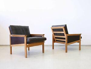 1(2) Vintage 60er Illum Wikkelso Ledersessel N. Eilersen MidCentury Easy Chair