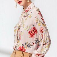 Occident Fashion Womens Floral Print Chiffon Tops Shirt  Casual OL Blouse Silk