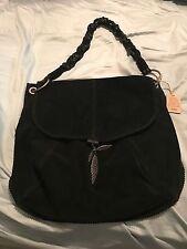 Lucky Brand Black Suede Leather Slouchy Hobo Handbag Purse Shoulder Bag
