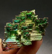 65g   Mystery of rare natural bismuth crystal square hole crystal cluster