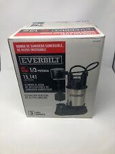 NEW Everbilt SP03302vd 1/3 HP Submersible Sump Pump Stainless Steel/ Cast Ironp