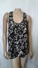 Elle Womens Large Black Sleeveless Loose Blouse With Ivory Flower Design L