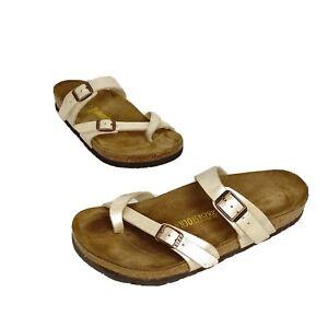 Birkenstock Mayari Ivory Pearl Slide Sandals Sz 38 (Women 7- 7.5 US) Cork Sole