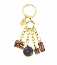 HARRODS LONDON SW1 FOUR CHARM ENAMELLED KEYRING BNWT - GREAT GIFT