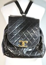 Vintage Rare Black Chanel Quilted CC Logos Chain Backpack