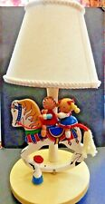 Vintage 1980's Wooden Musical Nursery Lamp (Boy and Girl on Rocking Horse)