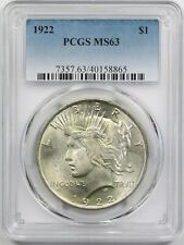 1922 $1 PCGS MS 63 Peace Silver Dollar