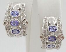 0.24 ct 14k White Gold Round Cut Diamond & Tanzanite Half Hoops Earrings 8 Grams