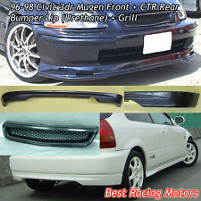 Mu-gen Style Front (PU) + CTR Rear Lip (PU) + Grill (ABS) Fit 96-98 Civic 3dr