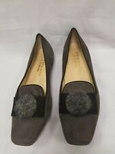 8/39.5 Vtg Brunate Italian 1926 Women's Shoes Gray Suede Dress Shoes Bow