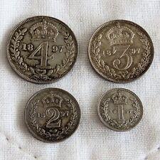 1897 QUEEN VICTORIA SILVER 4 COIN MAUNDY SET