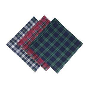 Mens/Gentlemens Check Tartan Handkerchiefs 100% Cotton Assorted Colours
