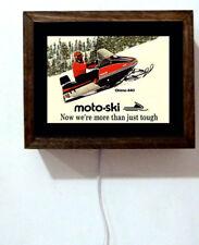 Moto-Ski Snowmobile Snowmobiling Dealer Sales Retro Vintage Light Lighted Sign