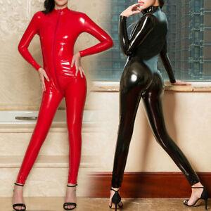 Womens Sexy Latex Rubber Sport Tight Bodysuit Suit Lingerie Size S/L Cheap Sale