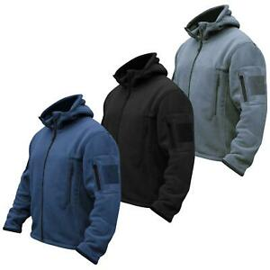 Mens Hooded Tactical Fleece Jacket Military Security Combat with 3 Zip Pockets
