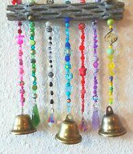 4 Prisms, 3 Brass Bells Driftwood Suncatcher WINDCHIMES Art Deco- 6 in. X 7 in.