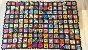 Vintage Granny Square Afghan Throw Hand Crochet Multi Color BLACK 50 x 36 small