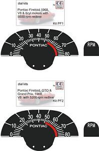 1968 ON PONTIAC FIREBIRD GTO GRAND PRIX HOOD TACH GAUGE FACE REFRESH RESTO KIT