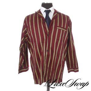 #1 MENSWEAR Brooks Brothers Red Gold Navy #1 Repp Stripe 2pc Pajamas Suit L NR