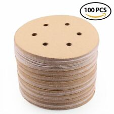 "100pcs 6"" 120 Grit 6 Hole Sanding Disc Hook Loop Pads Orbital Sand Paper Sheet"