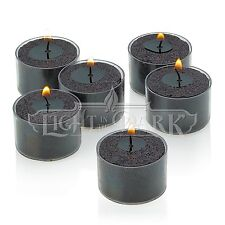 Set of 36 Black Tealight Candles with Clear Cup Burn 8 Hour, Unscented ,in a Box