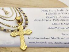 Croce Oro Giallo Ciondolo Crocifisso Unisex Uomo Donna  I Gioielli di Vicky
