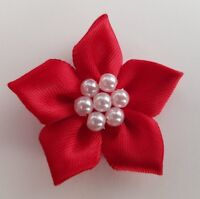 5 x Red 4cm Satin Ribbon Poinsettia Flowers with Pearl Beads - Christmas Craft