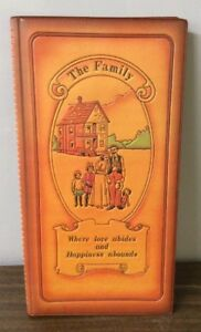 VTG FAUX LEATHER FAMILY PHOTO ALBUM WHERE LOVE ABIDES & HAPPINESS ABOUNDS